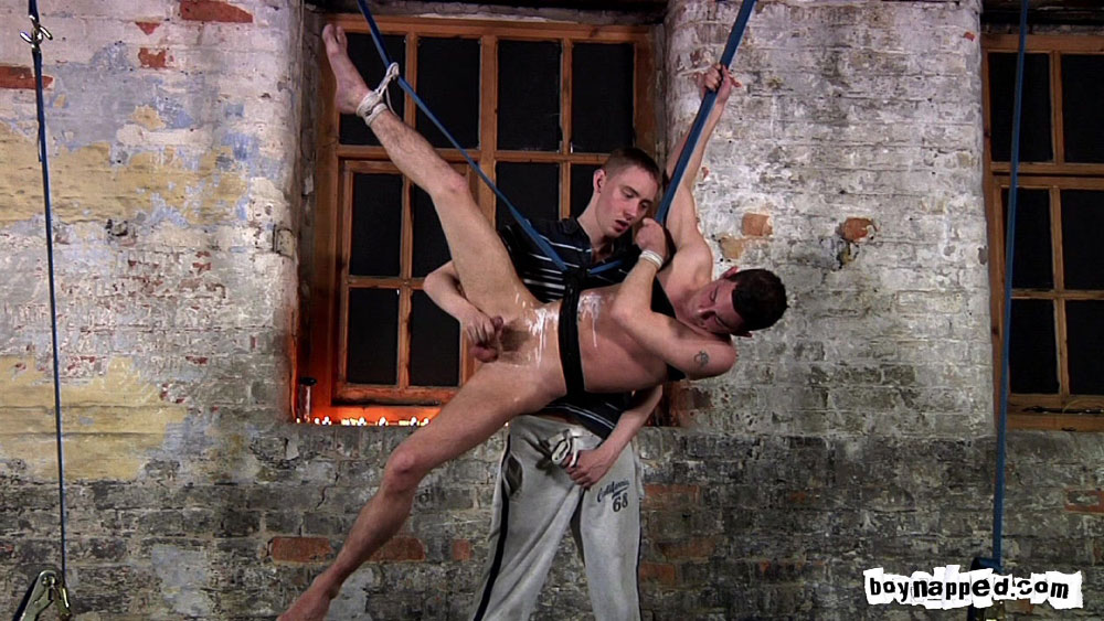 Suspended hot waxed and masturbated 4
